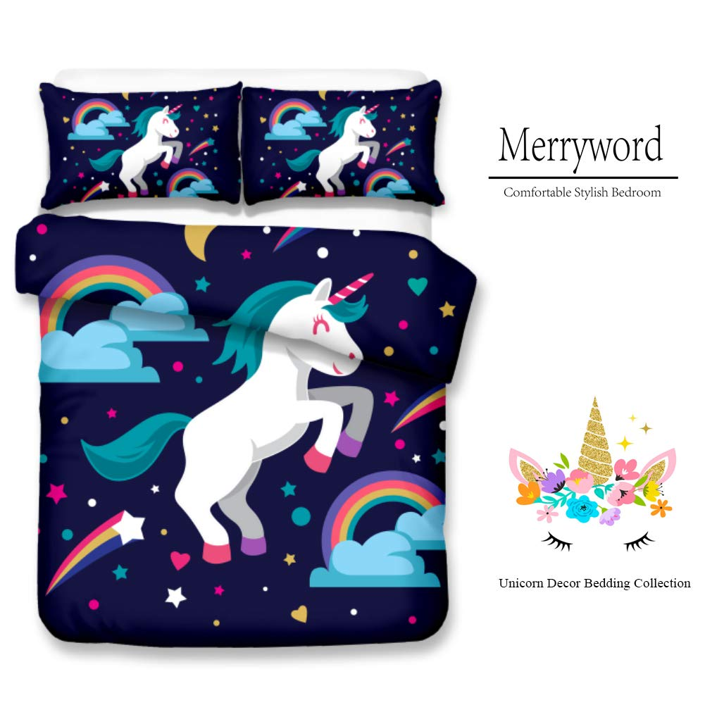 Green Cartoon Unicorn Bedding Magical Horse Girls Duvet Cover Set 3 Pieces Merryword Unicorn Rainbow Bedding Set Queen Size //2 Pillowcase 20 x 26 100/% Soft Micorifer 1 Duvet Cover 90 x 90