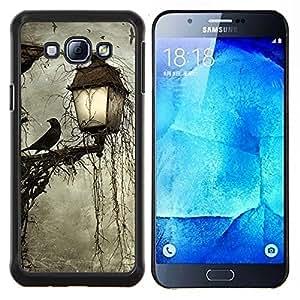 YiPhone /// Prima de resorte delgada de la cubierta del caso de Shell Armor - Lámpara Crow Somber Spooky Noche - Samsung Galaxy A8 A8000