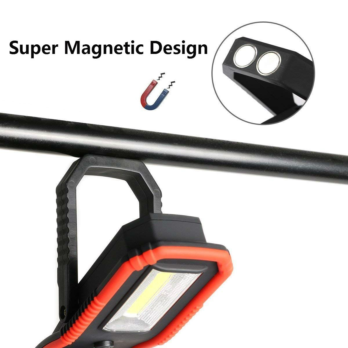 Portable LED Camping Light Work Light with Magnetic Base Stand & Hanging Hook Spotlight &Floodlight Ultra Bright for Car Repairing/Travel/Emergencies