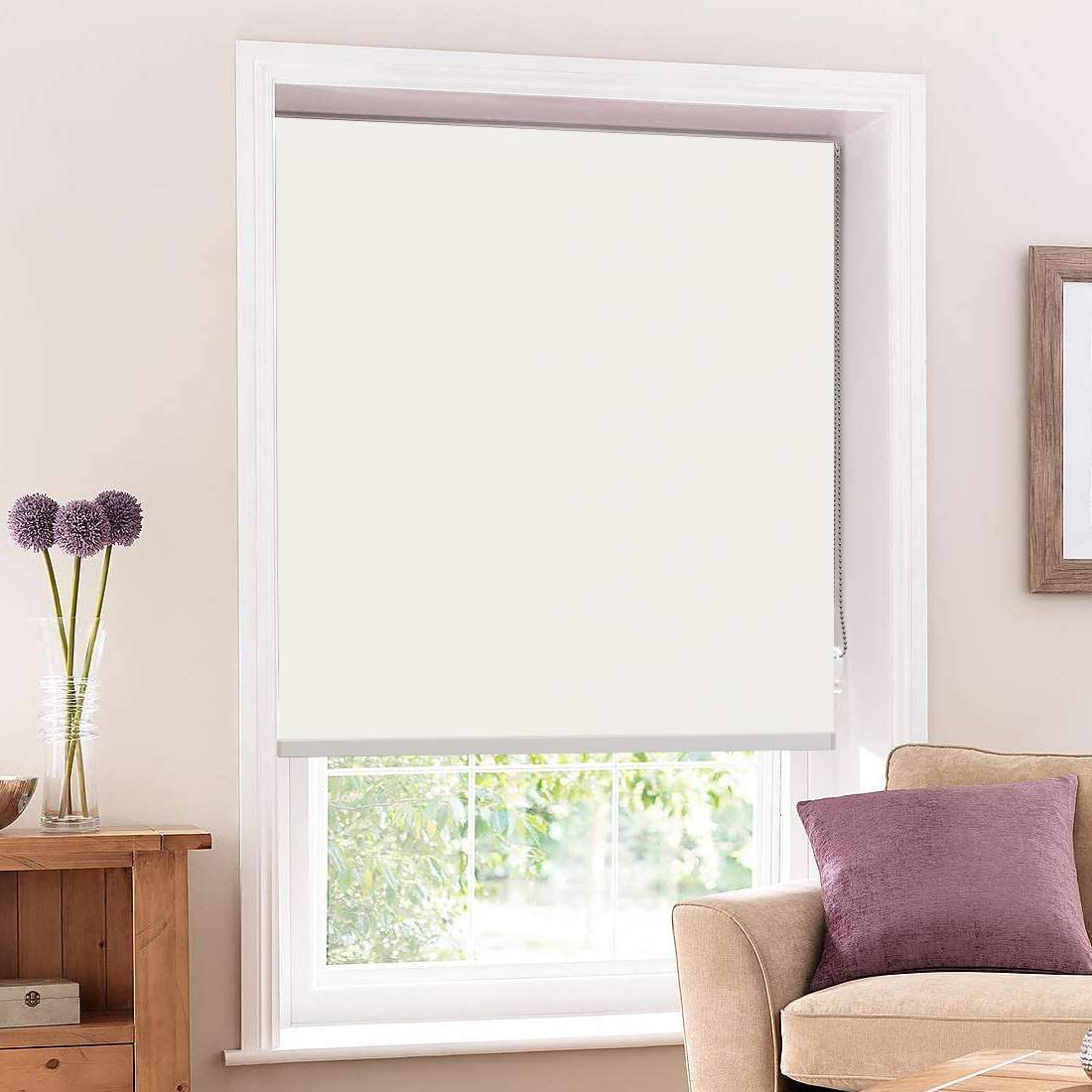 Keego Room Darkening Roller Shades-Window Black Out Shades-Thermal Blinds with Back in White to Anti-UV White 100 Blackout,W34xH60 Inch