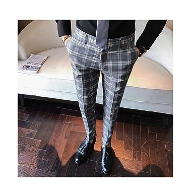 98d1bdff ZFADDS Men Dress Pant Plaid Business Casual Slim Fit Pantalon Homme Classic  Suit Trousers Wedding Pants
