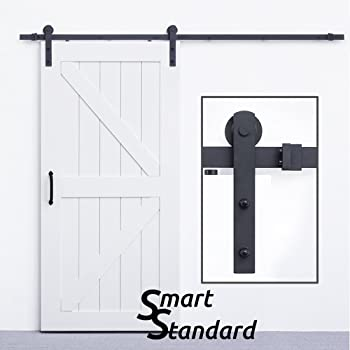 SmartStandard Sliding Barn Door Hardware Kit 8ft Heavy Dutyu0026Sturdy Super  Smoothlyu0026Quietly Simple And