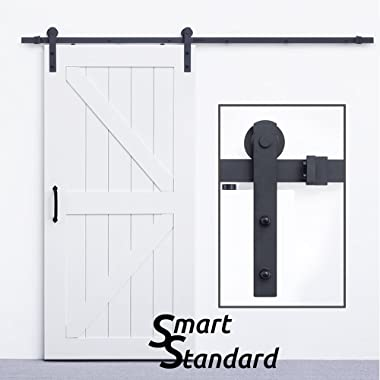 SmartStandard Sliding Barn Door Hardware Kit-8ft Heavy Duty&Sturdy-Super Smoothly&Quietly-Simple and Easy to install-Includes Step By Step Installation Instruction-Fit 42 -48 Wide Door Panel(I shape)