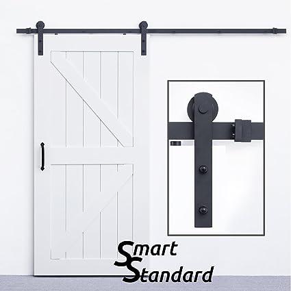 Exceptional SmartStandard Sliding Barn Door Hardware Kit 8ft Heavy Dutyu0026Sturdy Super  Smoothlyu0026Quietly Simple And