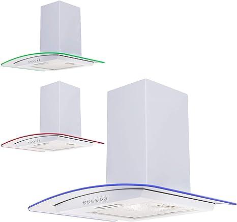 Sia cple71wh 70 cm 3 Color LED cristal curvado blanco campana extractor ventilador: Amazon.es: Grandes electrodomésticos