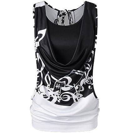 Women Summer Tank Top Cuekondy Casual Fashion Cut Out Back Open Double  Layer Vest Blouse Shirt (XL 8fb5473371