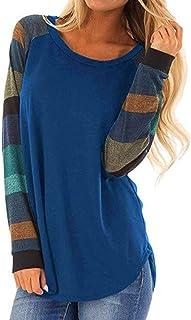 TEELONG Bluse Damen Mode Streifen Casual Top T Shirt Lose Langarm Top Bluse Langarmshirt Sweatshirt Kapuzenpullover Sweatshirt Pulli Tunika Bluse