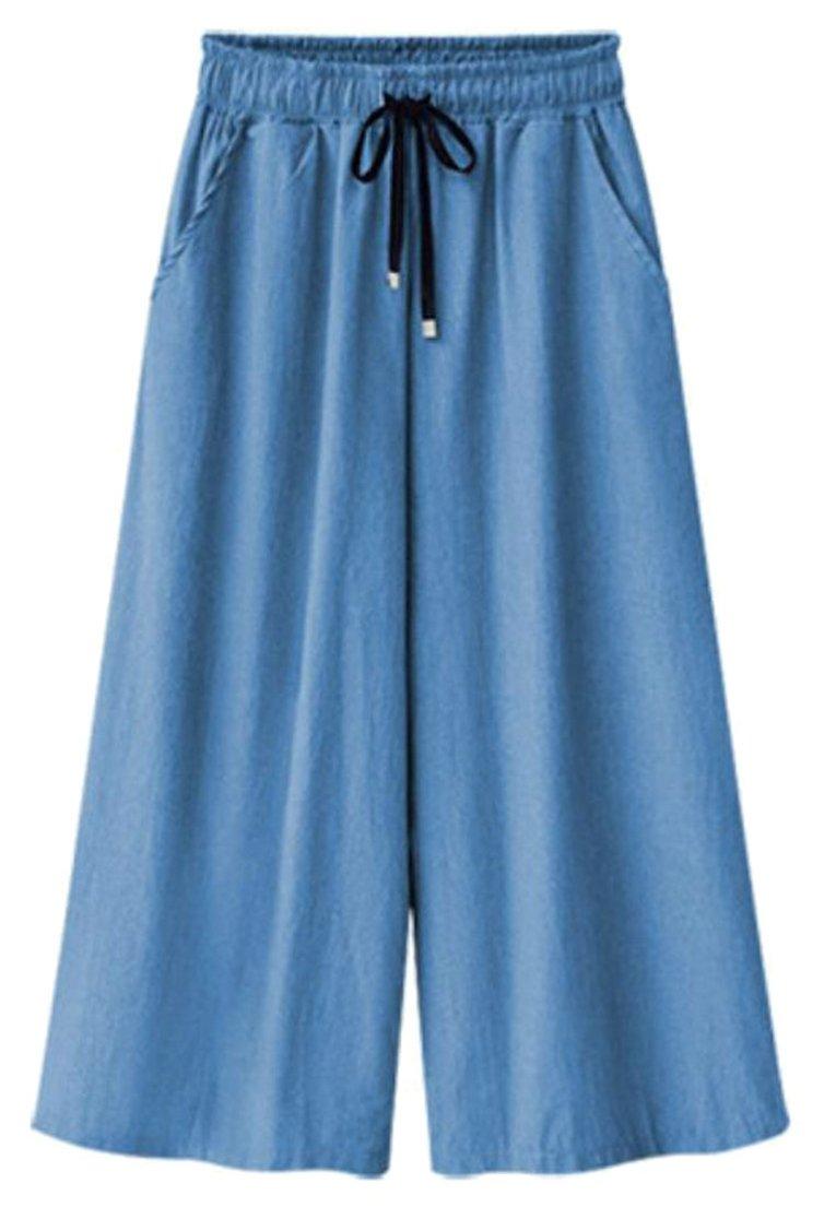 Pandapang Women's Summer Thin Elastic Waist Wide-Leg Denim Capri Jeans Pants Light Blue XL