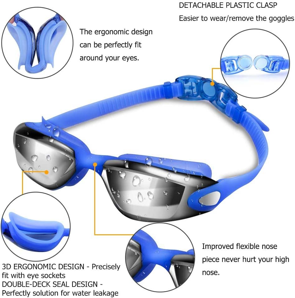 Swimming Goggles UV 400 Protection Anti Fog No Leaking Wide View Pool Goggles with Ear Plug Nose Clip /& Protective Case for Women Men Adult Youth Kids Zerhunt Swim Goggles