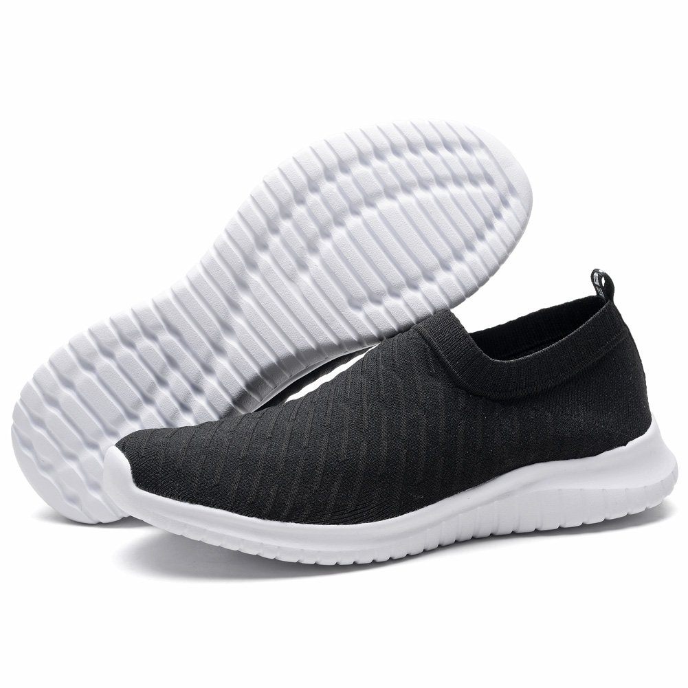 TIOSEBON Women's Walking Shoes Lightweight Mesh Slip-on- Breathable Running Sneakers 5 US Black by TIOSEBON (Image #4)