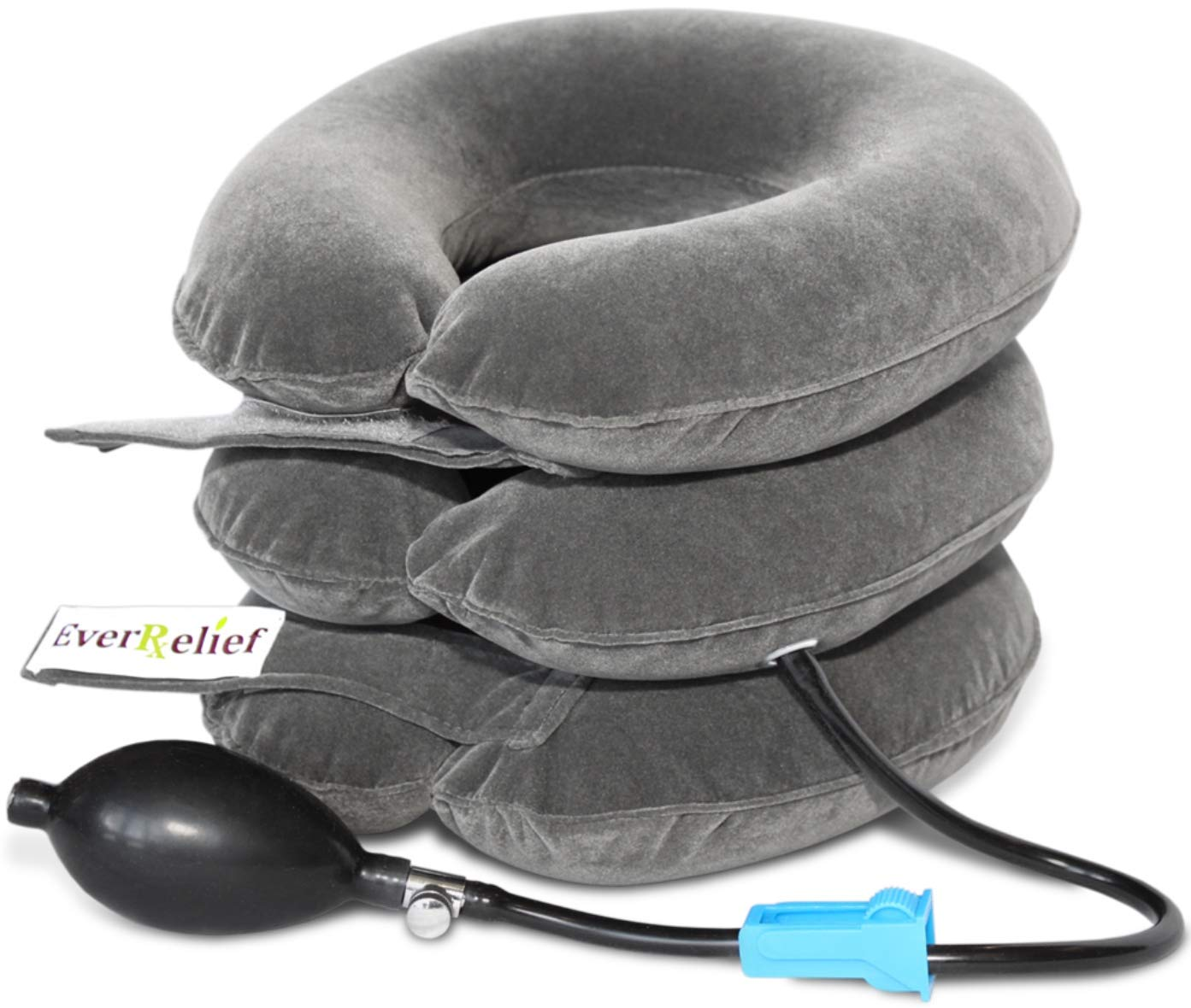 Cervical Neck Traction Device by EverRelief - Inflatable & Adjustable Neck Stretcher Collar - at Home Traction for Neck Pain Relief