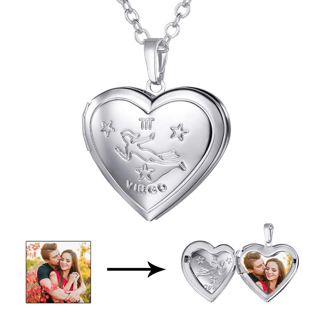 U7 Virgo Zodiac Sign Necklace Platinum Plated Heart Photo Locket Pendant, Chain 22''