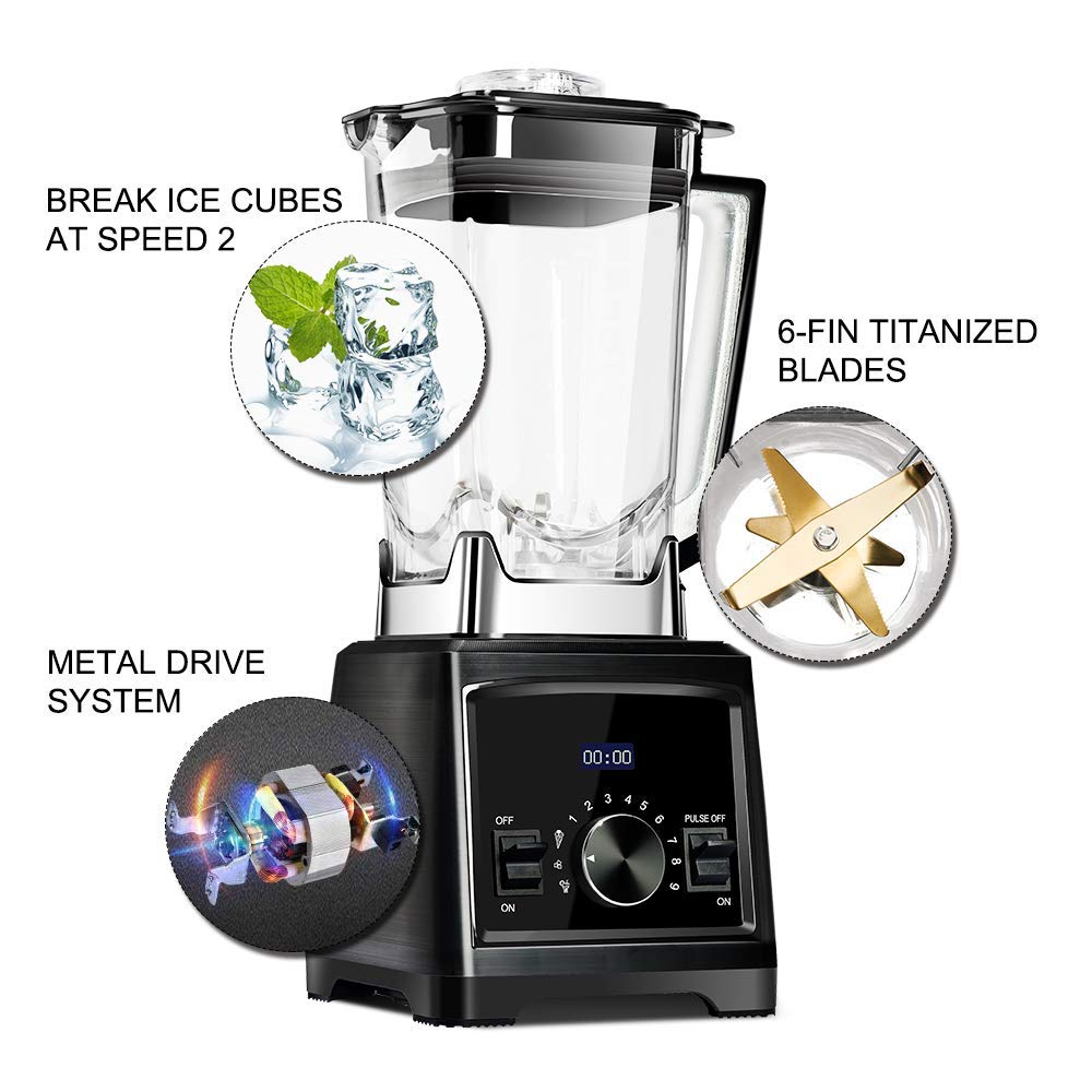 Decen Blender Smoothie Maker Smoothie Blender 1450W High 9 Speed with 6-Fin Titanized Extractor Blades, 70oz/3 Pre-Programmed Auto-Blending Settings
