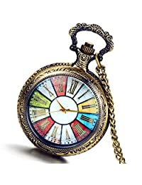 Lancardo Unisex Color Luckey Wheel of Fortune Steampunk Pocket Fob Watch with Gift Bag