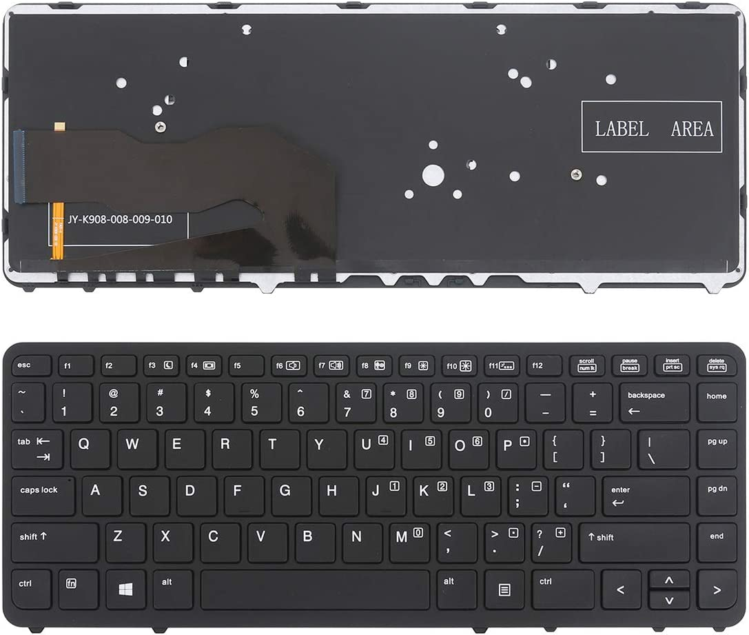 Backlit,Without Point,Win8 Laptop Replacement Keyboard for HP EliteBook 840 G1 850 G1 Black Frame Black