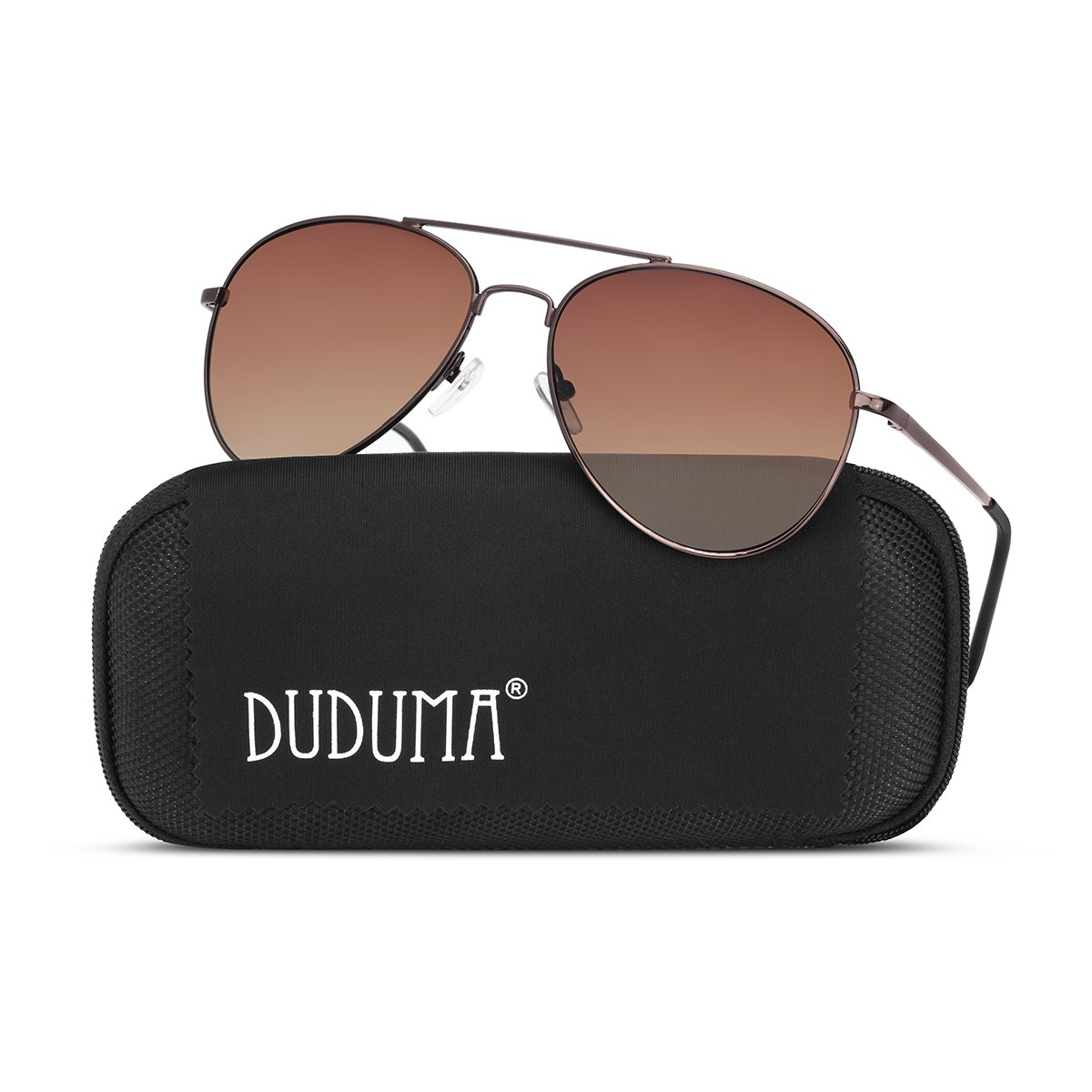 Duduma Premium Classic Aviator Sunglasses with Metal Frame Uv400 Protection (Coffee frame/brown lens(not Mirrored Lens)) by Duduma