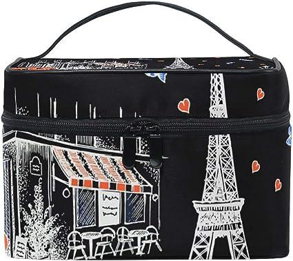 Símbolo francés París Torre Eiffel Mujer Bolsa de cosméticos de viaje Estuche de tren de maquillaje portátil Bolsa de aseo Organizador de belleza: Amazon.es: Belleza