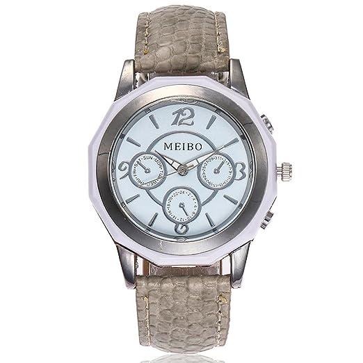 Relojes Mujer,❤LMMVP❤Casual de la mujer de cuero de cuarzo banda nueva correa reloj analógico reloj de pulsera (B): Amazon.es: Relojes