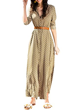 91b8fb58b80 Asvivid Womens Button Down Polka Dot Roll Up Sleeve Flowy Shirt Casual Maxi  Long Dress Small
