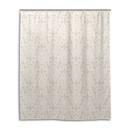 Cream Shower CurtainWedding Inspired Symmetrical Design White Lace Style Background Pattern Damask Vintage