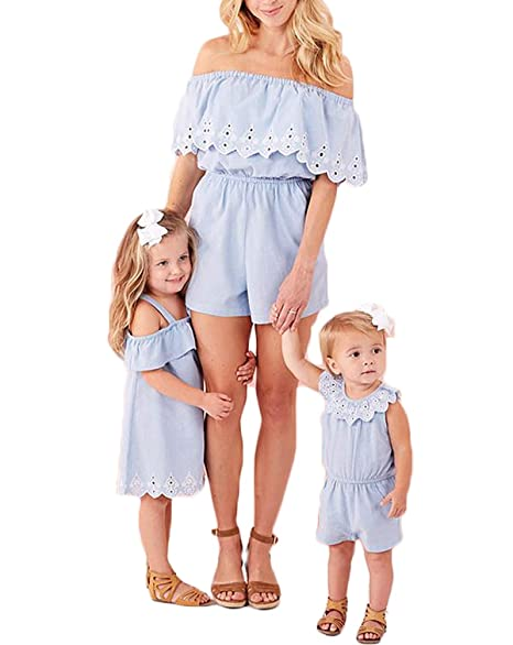 ff5319c3f4a61 Mother and Daughter Matching Denim Jumpsuit Mommy and Me Matching Midi  Dress Family Outfit Skirt Jumpsuit Clothes