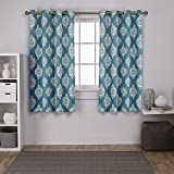 Exclusive Home Medallion Blackout Window Curtain Panel Pair with Grommet Top, 52×63, Teal, 2 Piece Review