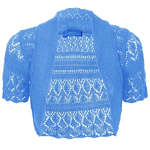 Short Sleeve Crop Shrug (Thever Women Short Sleeve Knitted Crochet Shrug Bolero Cardigan Ladies Crop Top (S(6-8), Turquoise))