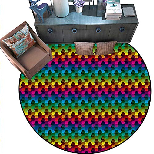 (Geometric Circle Rugs Trippy Digital Gradient Puzzle Style Futuristic Curved Shapes Multimedia Concept Living Dining Room Bedroom Hallway Office Carpet (6' Diameter) Multicolor)