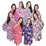 Set Of 8 Cotton Floral Kimono Robes For Bride and Bridesmaids Wedding Party Bridesmaid Gifts 14 Colors