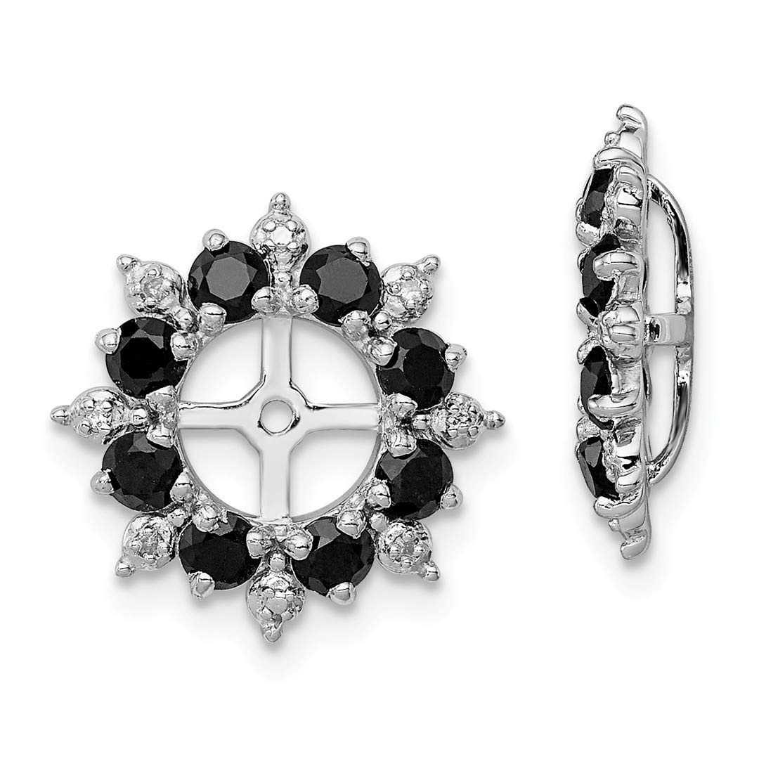 ICE CARATS 925 Sterling Silver Diamond Black Sapphire Earrings Jacket Fine Jewelry Ideal Gifts For Women Gift Set From Heart