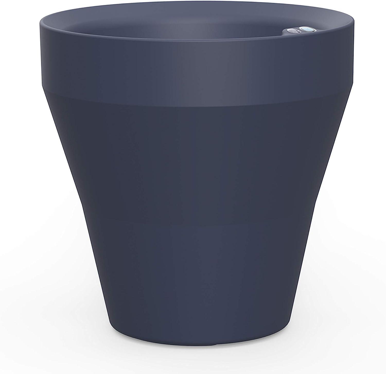 Crescent Garden Rim TruDrop Planter, Self-Watering Plant Pot, 22-Inch (Midnight)