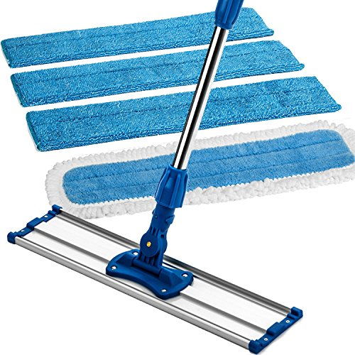 Zflow 18-Inch Stainless Steel Handle Microfiber Wet and Dry Mop with Pad and 3 Wet Pads, Blue (Around Sale For Wrap Couches)