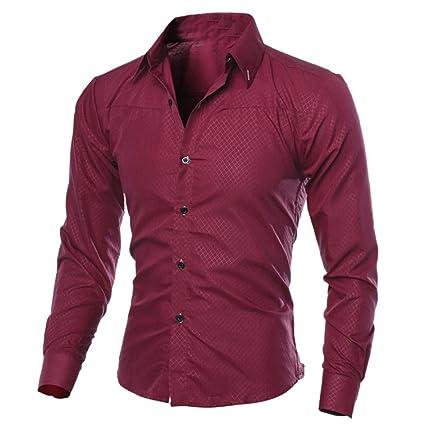 Camisas Hombre, Amlaiworld Hombre Moda Impreso Camisas de Manga Larga Slim Tops Blusa Camiseta Slim