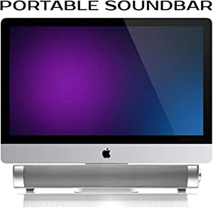 Powerful Portable Soundbar for iMac MacBook PC iPhone Bluetooth 3.0 +EDR, Speakerphone, Powerful 1800mAh Lithium Battery, Super Bass, 3D Stereo Surround Sound 2.0 Channel, Home Cinema System (Silver)