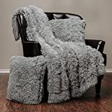 Chanasya 3-Piece Super Soft Shaggy Throw Blanket Pillow Cover Set - Chic Fuzzy Faux Fur Elegant Cozy Fleece Sherpa Throw (50''x65'') & Two Throw Pillow Covers (18''x 18'')- For Bed Couch Chair Sofa - Grey