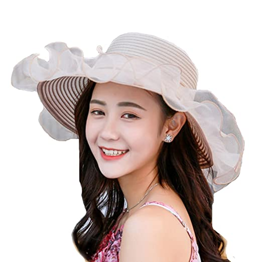 7dbecfd8ba2 Women Kentucky Derby Hat Wide Brim Collapsible Sun Hats with Organza  Ruffles