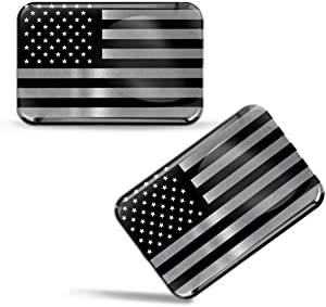 Biomar Labs 2 x 3D Domed Silicone Stickers Decals USA United States of America National American Star Silver Flag Car Motorcycle Laptop Phone F 132