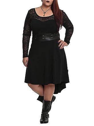 Tripp NYC Plus Size Gothic Black Faux Leather Lace Hi Lo Dress (1X ...