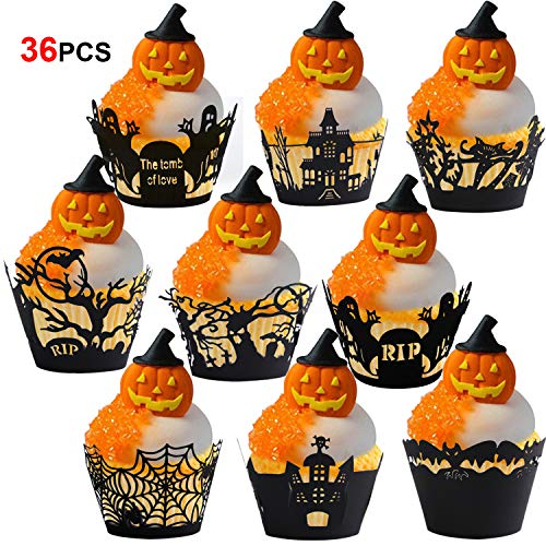 Konsait Halloween Cupcake Wrappers,36pcs Cupcake Cases Laser Cut Witches Bat Spider Ghost Web Castle Pumpkin Tombstones Design for Halloween Decoration Party Supplies Favour
