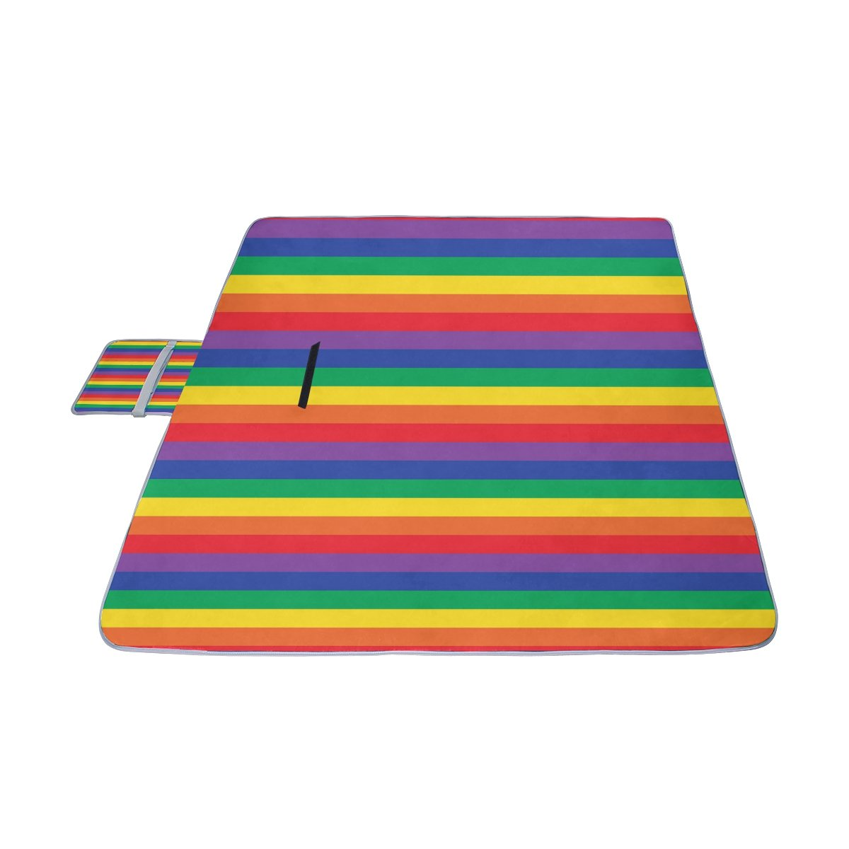 Naanle Rainbow Stripe Plaid Picnic Blanket Outdoor Picnic Blanket Tote Water-Resistant Backing Handy Camping Beach Hiking Mat