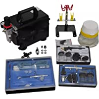 vidaXL Airbrush Compressor Set met 3 Spuitpistolen Spuit Pistolen Verfpistool