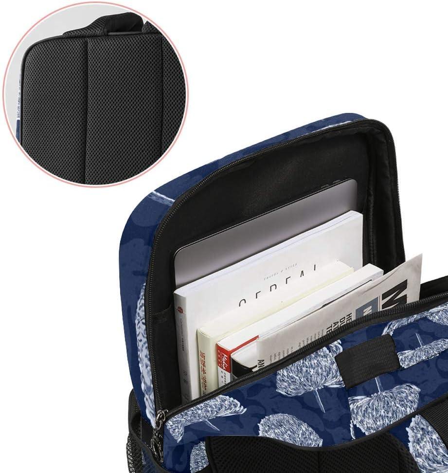 Casual School Backpack Trees Pattern Navy Blue Print Laptop Rucksack Multi-Functional Daypack Book Satchel