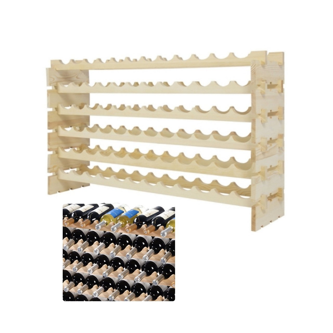 Pine Wood Wine Rack 72 Bottle Holder Stackable 6 Tier Storage Dining Room Kitchen Home Display Space-Efficient Storage Solid Construction Natural Finish #1802