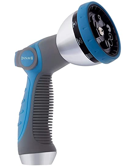 Hose Spray Nozzle >> Innav8 Garden Hose Nozzle Heavy Duty Features 10 Spray Patterns Thumb Control On Off Valve For Easy Water Flow Control High Pressure Hose Nozzle