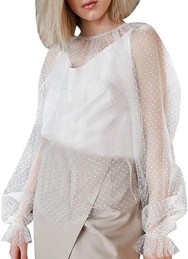 Mujeres Malla Perspectiva Blusa Transparente Camisetas de Manga Larga Tops de Moda y Casual Arriba de Encaje Shirts de Fiesta Camisa de Cuello Redondo Hueco Top: Amazon.es: Ropa y accesorios