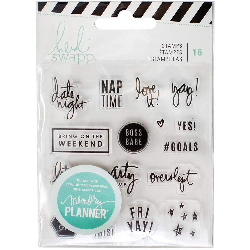 American Crafts 315132 Heidi Swapp Memory Planner Clear Stamps, Multi-Colour