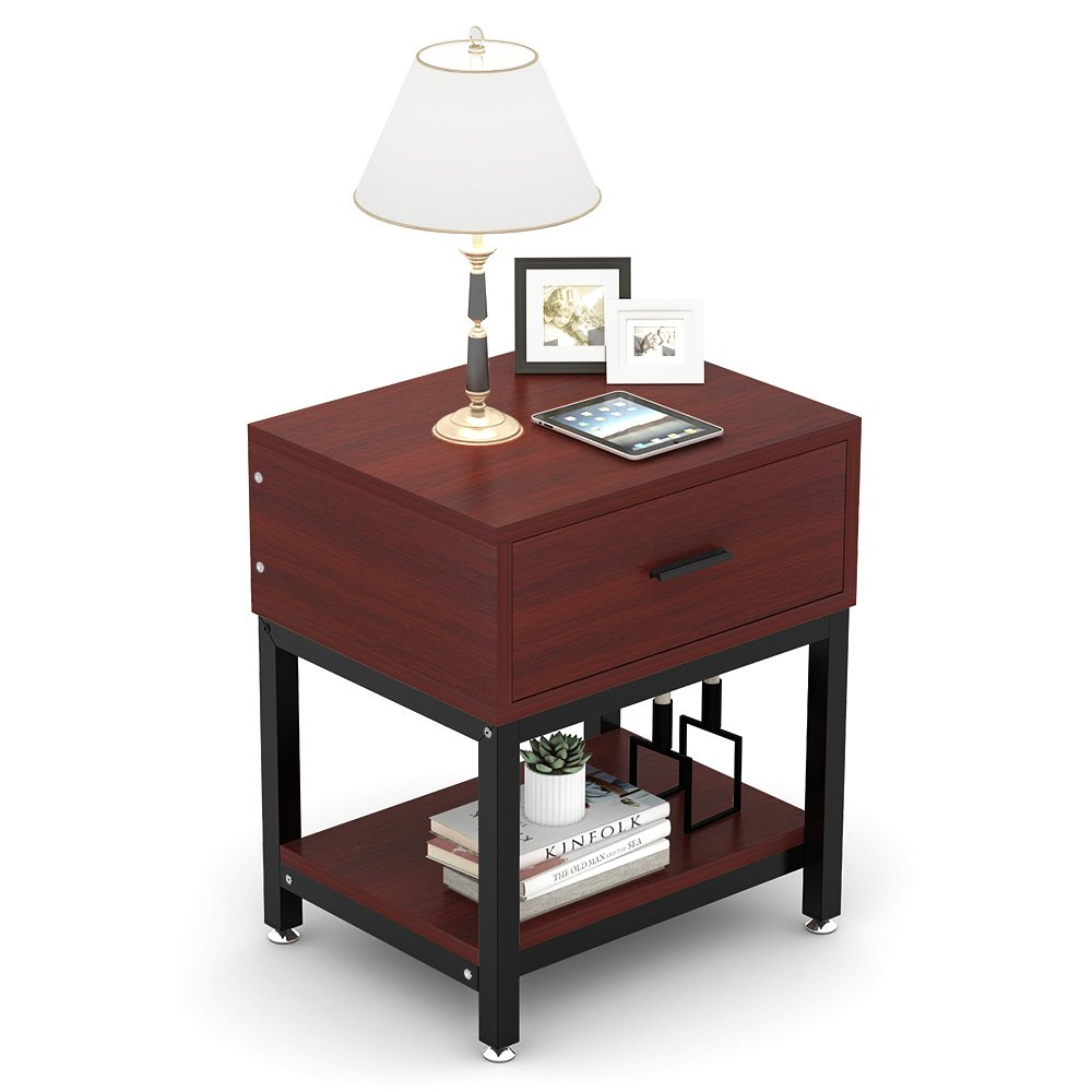 Night Stands, LITTLE TREE Side End Table with Drawer and Shelf for Bed Room Living Room, Beside Table with Storage, Metal Frame & Wood, Cherry by LITTLE TREE (Image #8)