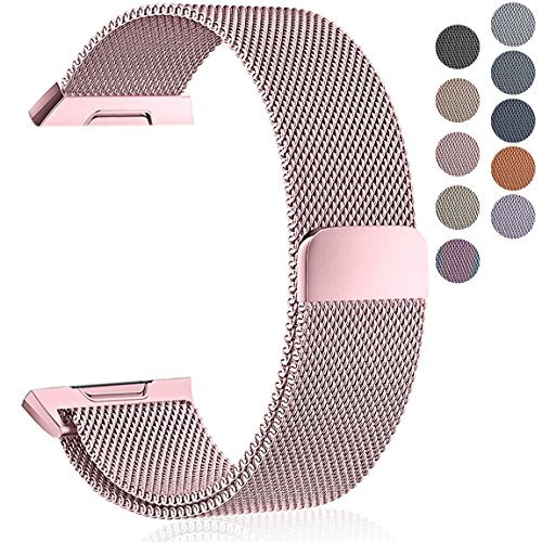 Maledan Metal Bands Compatible with Fitbit Ionic, Stainless Steel Milanese Loop Replacement Accessories Bracelet Strap with Magnet Closure for Fitbit Ionic Smart Watch, Rose Pink, Small