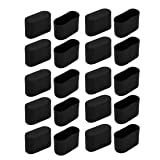 uxcell 20pcs Furniture Desk Chair Foot Oval Plastic Tip Cap Fit for 34mmx16mm Leg Black