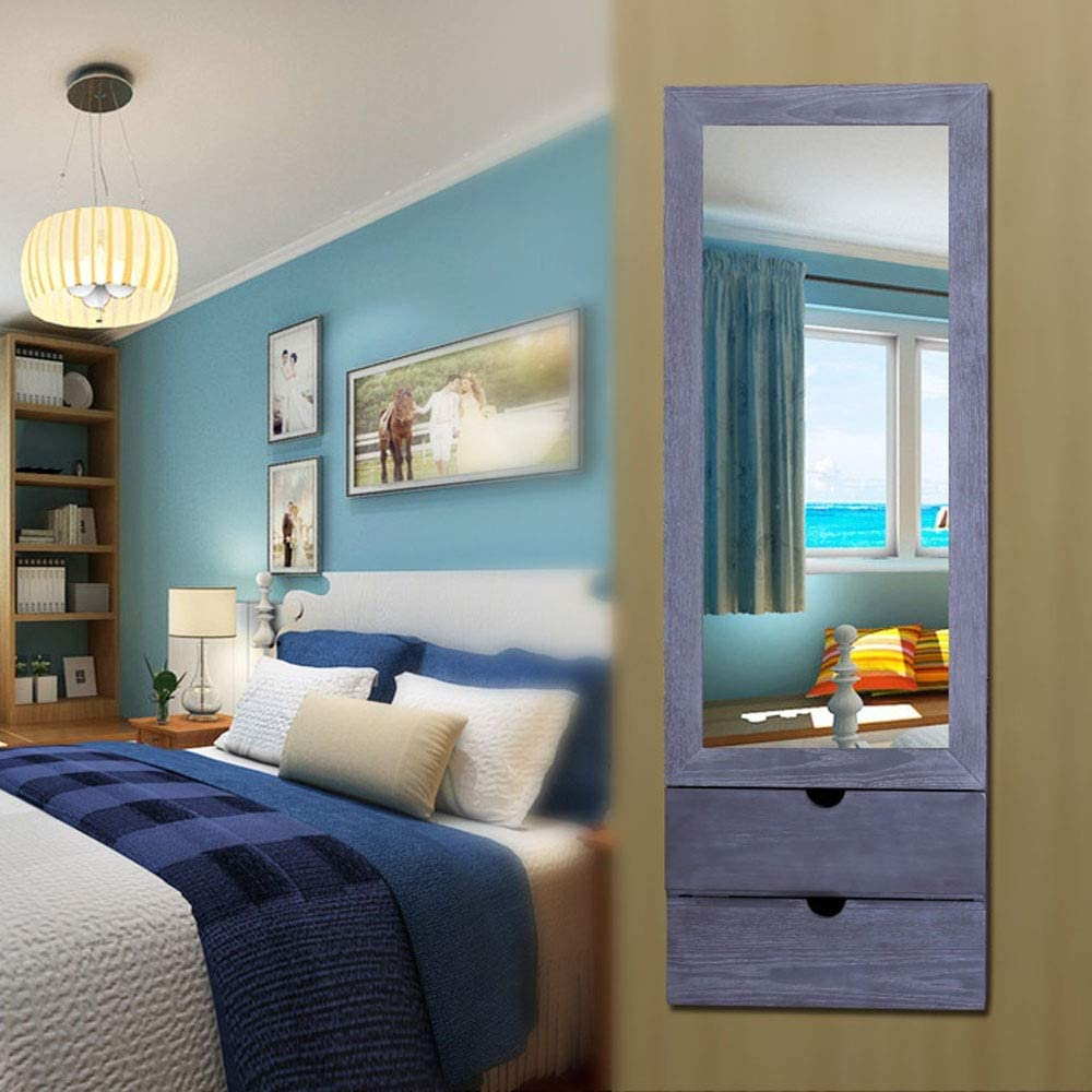 Color : Gray, Size : 102 * 35.5 * 9.5cm Pettneeds-HE Jewellery Armoire Wall-mounted Fitting Mirror Cabinet Jewelry Storage Mirror Bedroom Storage Full-body Mirror Cabinet
